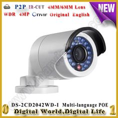 111.00$  Watch now - http://aliglt.worldwells.pw/go.php?t=32780537049 - DS-2CD2042WD-I CCTV 1080P mini poe ip camera Video Surveillance 4MP Bullet Security Camera outdoor waterproof IP66 WDR 120DB