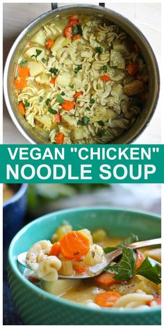"You will LOVE this healthy Vegan ""Chicken"" Noodle Soup! All whole foods, plant-based, oil-free and so nutritious! Tastes so authentic. #vegan #chicken #noodle #soup #plantbased Vegan Soups, Vegetarian Meals, Vegan Dinners, Free Recipes, Soup Recipes, Salad Recipes, Vegan Recipes, Vegan Chicken Noodle Soup, Spicy Stew"