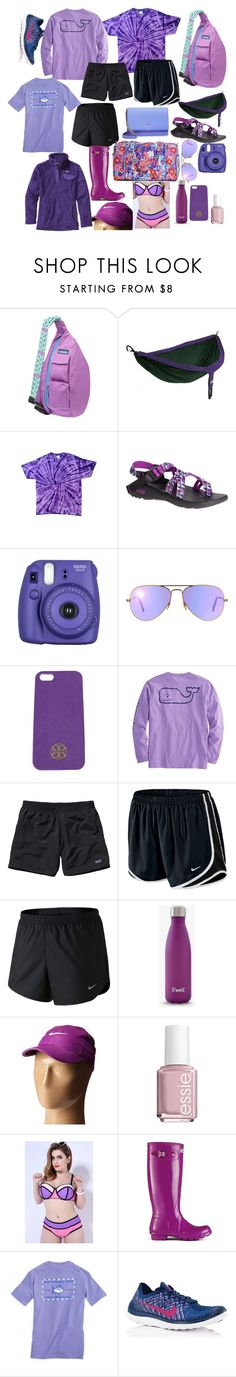 """""""idk pt2746592737583208385109828478257208637 preppy"""" by dickeyfam on Polyvore featuring Kavu, ENO, Chaco, Ray-Ban, Tory Burch, Patagonia, NIKE, Essie, Hunter and Vera Bradley"""