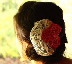 Lace Veil Clip Bridal Fascinator Red Roses by ThriftyLittleBird