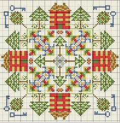 Cross stitch chart - little houses - designed for biscornu