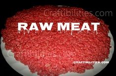 Easy HALLOWEEN food IDEA - Red Velvet Rice Crispy Treats RECIPE - Looks like raw meat…gross but tastes so good. kids party idea
