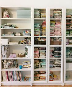 Sew Your Own Storage -The Ikea Billy Bookcase Storage System - there has to be a better way! Thread Storage, Sewing Room Storage, My Sewing Room, Fabric Storage, Billy Ikea, Ikea Billy Bookcase, Bookcase Storage, Sewing Room Design, Deep Shelves