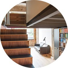Stair Storage by Uncommon Projects Plywood Bookcase, Oak Plywood, Plywood Furniture, Office Furniture, Cool Furniture, Plywood Kitchen, Kitchen Wood, Kitchen Ideas, Kitchen Cabinets