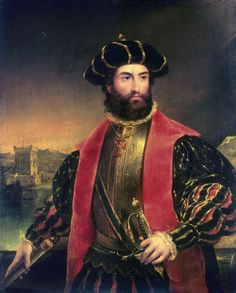 Vasco da Gama, Portuguese Vasco da Gama, 1er conde da Vidigueira (born c. 1460, Sines, Port.—died Dec. 24, 1524, Cochin, India), Portuguese navigator whose voyages to India (1497–99, 1502–03, 1524) opened up the sea route from western Europe to the East by way of the Cape of Good Hope.# Portrait of Vasco da Gama by Antonio Manuel da Fonseca.