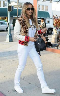 White Tee. Nikes. Oh! White Jeans. Leopard Bomber Jacket. Urban Outfit. Hip Hop Outfit. Dope Outfit. Swag. Streetwear. Ciara Style