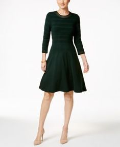 Jessica Howard Crochet-Trim Fit & Flare Sweater Dress | macys.com