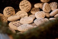 Wishing Stones - Instead of a guest book, have guests write messages on stones & place near the gifts. Coat with lacquer later to preserve & place in bowl or garden.