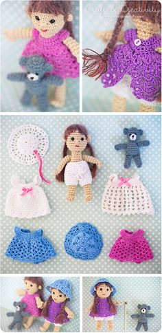 dolls and clothes patterns and links to other patterns on By Hook, By Hand at http://byhookbyhand.blogspot.com/2009/11/good-thing-come-in-small-packages.html