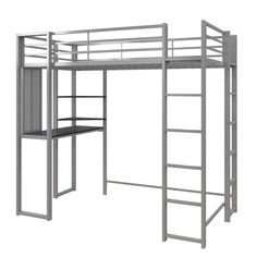 Mack & Milo Aime Full Loft Bed with Bookcase Size: Twin, Bed Frame Color: Silver Twin Size Loft Bed, Twin Bunk Beds, Loft Bed Frame, Bed Frames, Silver Room, Style Loft, Black Desk, Built In Desk, Headboard And Footboard