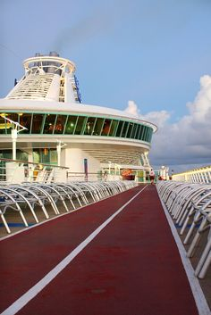 Hit deck 12 on Adventure of the Seas for a morning jog. Five laps around the running track equals 1 mile.
