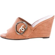 Pre-owned Chanel Suede Wedge Sandals ($275) ❤ liked on Polyvore featuring shoes, sandals, brown, buckle slide sandals, wedge sandals, chanel shoes, suede shoes and wedges shoes
