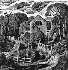 """Felsted Mill"" by Norman Clifford Jaques (wood engraving)"