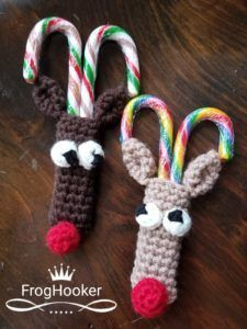 Free Crochet Pattern. What a great Christmas Craft Idea. Materials can even be found in some dollar stores, so it won't break the bank! Reindeer Candy Cane Holder Crochet Pattern.