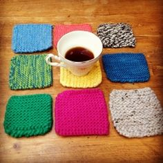 The perfect weekend project. Quick and easy knitted coasters! (put a square of cork on the back or a ceramic tile so that it still doesn't soak through to your furniture and leave a water mark. ~M)