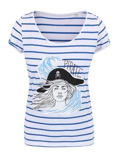 Modro-biele dámske pruhované tričko ZOOT Originál Pirátka Mens Tops, T Shirt, Hand Painted, Fashion, Supreme T Shirt, Moda, Tee Shirt, Fashion Styles, Fashion Illustrations
