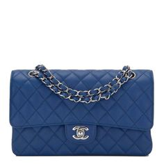f2bc67520795 Chanel dark blue Medium Classic double flap bag of caviar leather with  silver tone hardware in new or never worn condition. Shop authentic Chanel  at Madison ...