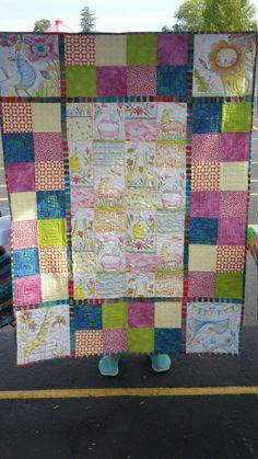 """Pastel pencil sketch floral and animal quilt - girls handmade blanket - white, pink, blue, green - 42""""x57"""" one of a kind by quiltmsunflowers on Etsy"""