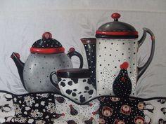 by Leninha Carmo - em preto, branco e vermelho  pour Micheline