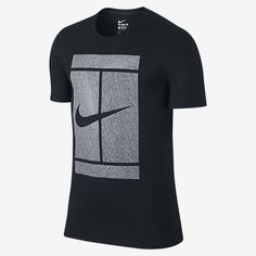 STATEMENT-MAKING PERFORMANCE The NikeCourt Logo Men's Tennis T-Shirt is designed with sweat-wicking fabric in a loose fit, making it ideal for practice. Designed for Movement A looser fit and notched hems allow you to move freely in relaxed comfort. Stay Dry Dri-FIT fabric helps keep you dry and comfortable by wicking sweat away from your skin to the fabric's surface, where it quickly evaporates. Comfortable Construction Shoulder seams are rolled forward, helping to keep the shirt in place…