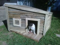 You are currently watching the result of Attractive Pallet Dog House Plans. You know dogs are our best friends! Here's I can give you the Attractive Ideas Double Dog House, Dog House With Porch, Small Dog House, Pallet Dog House, Build A Dog House, Dog House Plans, Old Pallets, Recycled Pallets, Wooden Pallets