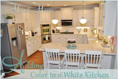 Adding color to a white kitchen!
