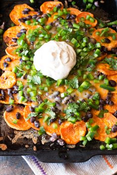 Loaded Sweet Potato Nachos are the perfect snack and with so much flavor, you won't even notice how healthy they are!