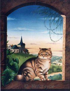 Cat in the window painting. Bernard Vercruyce