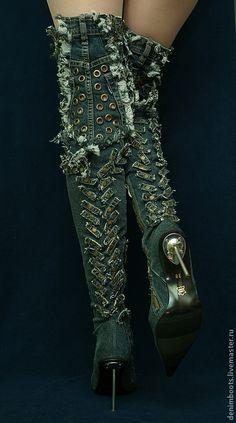 """Ботфорты джинсовые """"Основной инстинкт"""" на шпильке. Handmade."""