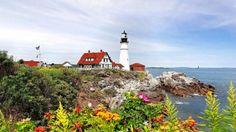 Coastal Lighthouse - lighthouse, flowers, landscape, rocks, house, nature, beach