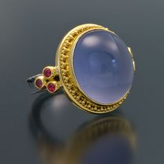 oxidized sterling silver 22kt gold granulation chalcedony ring