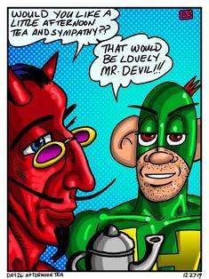 Daily Drawing, Afternoon Tea, Devil, December, Joker, Superhero, Drawings, Day, Fictional Characters