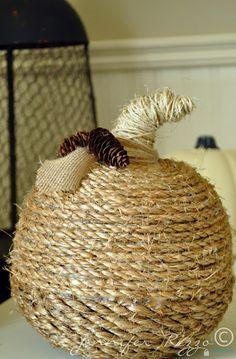 Jennifer Rizzo: Twine-wrapped pumpkin....