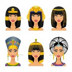 Buy Cleopatra Egyptian Queen by on GraphicRiver. Woman ancient, history and face, portrait nefertiti, vector illustration Ancient Egyptian Costume, Ancient Egypt Fashion, Egyptian Fashion, Egyptian Women, Egyptian Queen Costume, Egyptian Queen Tattoos, Egyptian Makeup, Egyptian Eye, Queen Nefertiti