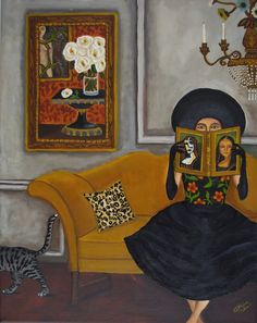 """Art Lover"" by Catherine Nolin. Acrylics on canvas, 2011."