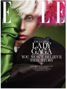 Cyrus is definitely NOT the only celeb that flashed the one eye thing in the past weeks. Here's Lady Gaga on the cover of ELLE.