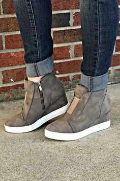 Just Kickin' It Sneaker Wedge: Taupe Cute Shoes, Me Too Shoes, Funky Shoes, Converse Outfits, Sneaker Outfits, Studded Heels, Tumblr Outfits, Clearance Shoes, Mid Calf Boots