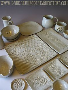 Rustic White Pottery in Vanilla Bean glaze by Barbarah Robertson Pottery Loooov. - Rustic White Pottery in Vanilla Bean glaze by Barbarah Robertson Pottery Loooove the texture … - Hand Built Pottery, Slab Pottery, Pottery Bowls, Ceramic Pottery, Thrown Pottery, Pottery Gifts, Handmade Pottery, Handmade Ceramic, Ceramic Clay