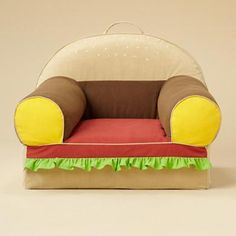 Hamburger chair from Land of Nod. Pretty much the best  thing ever