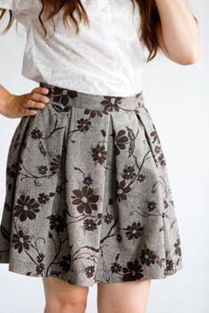 brown wool skirt with a print with pleats by OLHAKOSIUK on Etsy