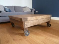 Industrial Coffee Tableeasy to make, could just put wheels on a pallet... is the floor level?