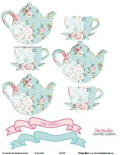Shabby Chic Tea for Two Descargar Crafting Elementos Libre para imprimir