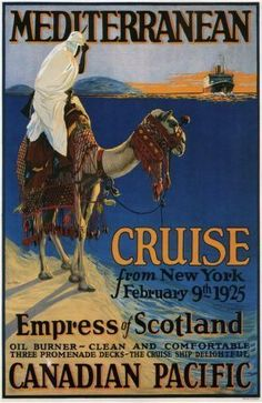 Canadian Pacific Mediterranean Cruise Lines 1925 Poster Standup 4inx6in