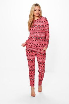 boohoo Emily Fairisle Snowflake Christmas Loungewear Set