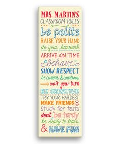 Another great find on #zulily! 'Classroom Rules' Personalized Canvas #zulilyfinds