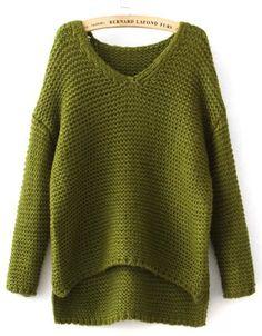Green V Neck Dipped Hem Chunky Sweater 28.33