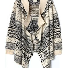 aztec and tribal print trends open knit cardigan