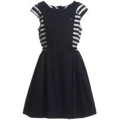 Tommy Hilfiger Navy Blue Dress with Striped Sleeves & Belt at Childrensalon.com