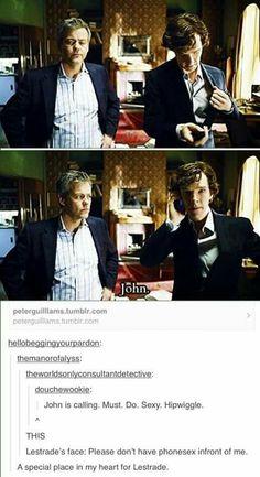 Sherlock having phone sex in front of Lestrade (Johnlock) Sherlock Holmes, Sherlock Doctor Who, Sherlock Fandom, Sherlock John, Sherlock Humor, Watson Sherlock, Sherlock Quotes, Johnlock, Martin Freeman