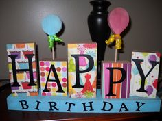 cute idea for a birthday sign.  Attach real balloons instead of wood ones.